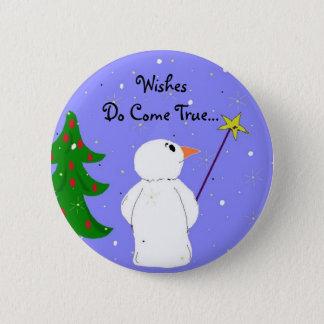 Wish Maker Snowman 2 Inch Round Button