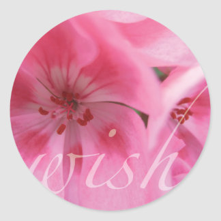 Wish Pink Geranium Flower Stickers