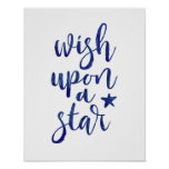 Wish upon a star navy blue typography poster