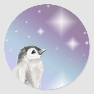 Wish Upon A Star Penguin Chick... Classic Round Sticker