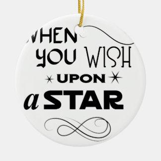 wish upon a star round ceramic ornament