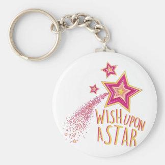 Wish Upon Star Basic Round Button Keychain