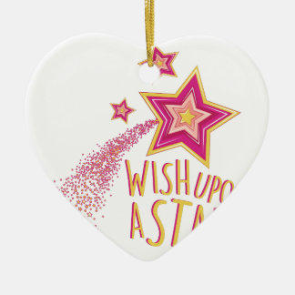 Wish Upon Star Ceramic Heart Ornament