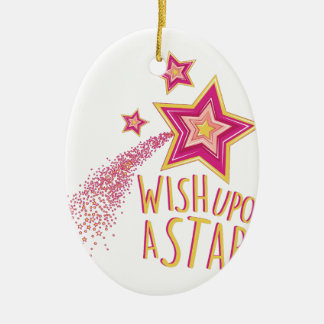 Wish Upon Star Ceramic Oval Ornament