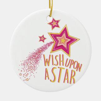 Wish Upon Star Round Ceramic Ornament