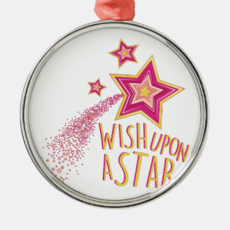 Wish Upon Star Silver-Colored Round Ornament