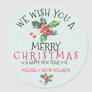 Wish You A Merry Christmas Mistletoe Illustration Classic Round Sticker