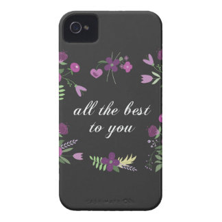 Wish You All The Best - Purple Flower Print Case-Mate iPhone 4 Cases