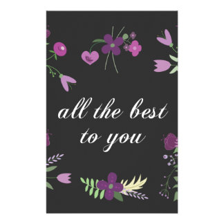 Wish You All The Best - Purple Flower Print Customized Stationery