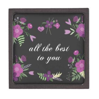 Wish You All The Best - Purple Flower Print Premium Trinket Box