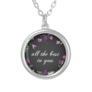 Wish You All The Best - Purple Flower Print Silver Plated Necklace