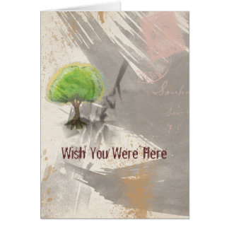 Wish You Were Here Abstract Grunge Collage Greeting Card