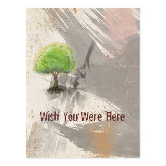 Wish You Were Here Abstract Grunge Collage Post Card