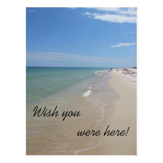 Wish you were here beach scene postcard
