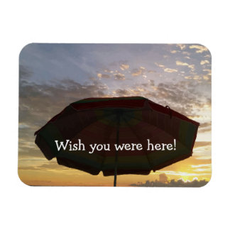 Wish you were here Colorful Beach Sunset Print Magnet