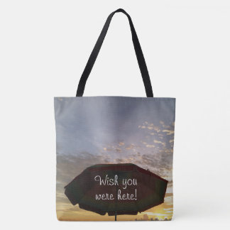 Wish you were here Colorful Beach Sunset Print Tote Bag