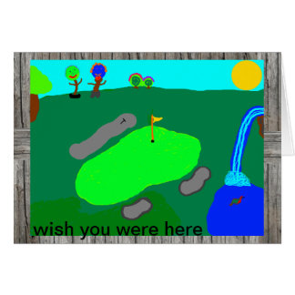wish you were here golf greeting card