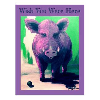 """Wish You Were Here""  Hog Postcard VCollierArt"