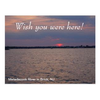 Wish you were here Metedeconk River, Brick NJ Postcard