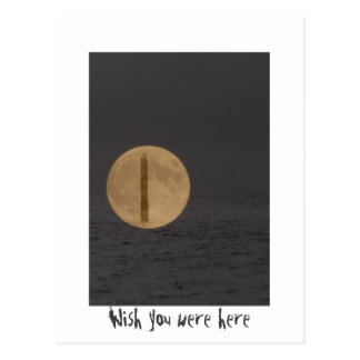 Wish you were here - moon and ocean collage post card