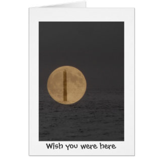 Wish you were here Moon & Ocean collage Greeting Card