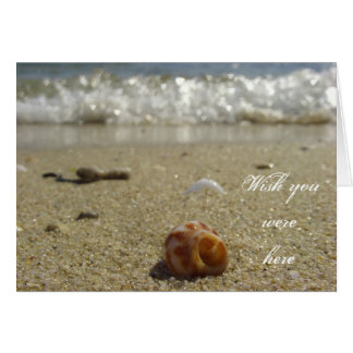 Wish you were here - shell at the beach greeting card