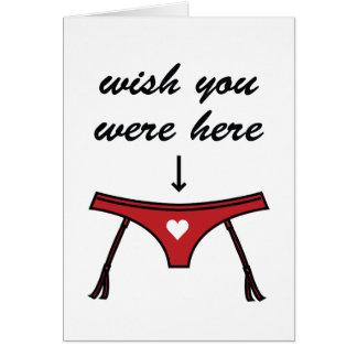 Wish You Were Here. Valentine's Card. Note Card