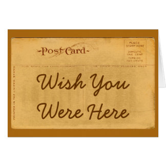 Wish You Were Here Vintage Postcard Greeting Card