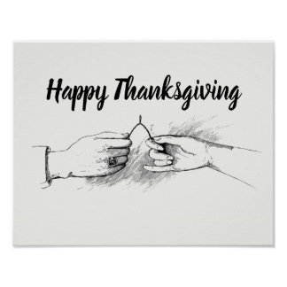 Wishbone Antique Inspired Happy Thanksgiving Poster