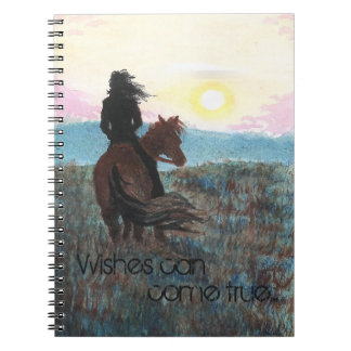 Wishes Can Come True Girl & Horse Spiral Notebook