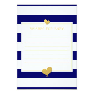 Wishes for Baby Advice Cards Navy Blue Gold