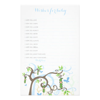 Wishes For Baby Boy Pea In A Pod Custom Template Stationery