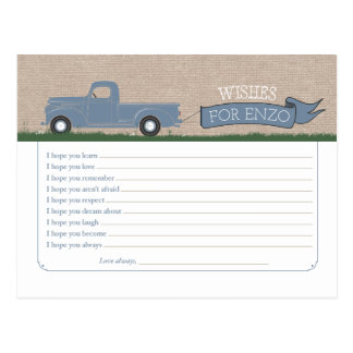 Wishes for Baby Boy - Truck Advice Cards