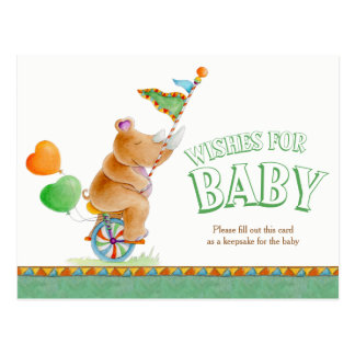 Wishes for baby circus rhinoceros shower postcard
