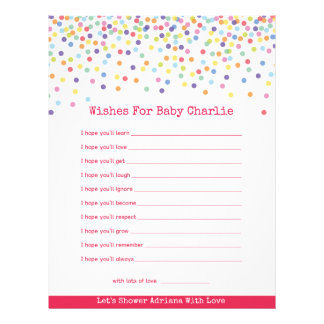Wishes for Baby Confetti Theme Baby Shower Letterhead
