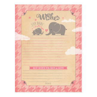 Wishes for Baby Girl - Elephant Advice Cards Postcard