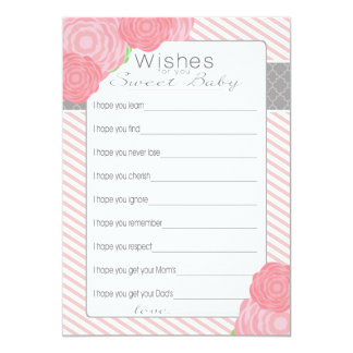 Wishes for Baby Shower card. Pink Card