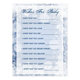 Wishes For Baby Shower Night Sparkle Blue Post Cards