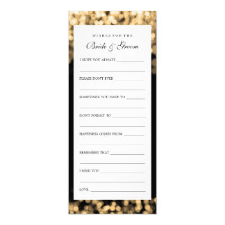 """Wishes For Bride And Groom Gold Lights 4"""" X 9.25"""" Invitation Card"""