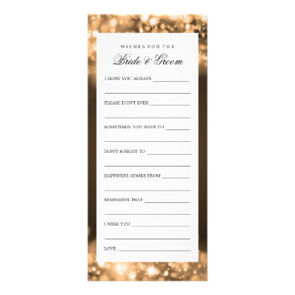 Wishes For Bride And Groom Gold Sparkling Lights Customized Rack Card