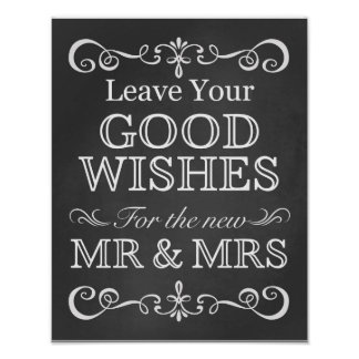 Wishes for The New Mr & Mrs Chalkboard Wedding Poster