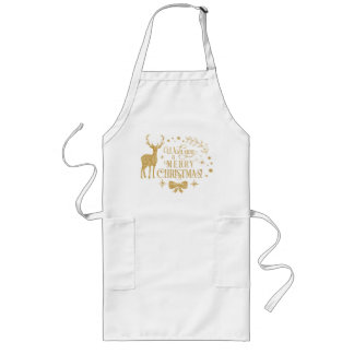 Wishing a Merry Christmas/Typography/Gold Text Long Apron