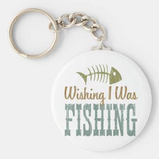 Wishing I Was Fishing Key Chain