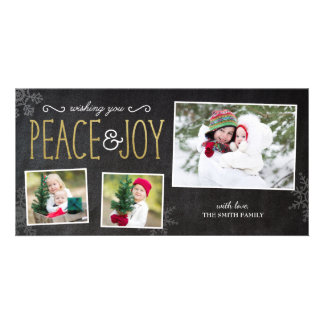 Wishing Peace & Joy Christmas Photo Card