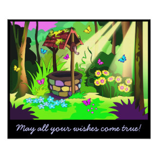 Wishing Well Customizable Message Wishes Come True Poster