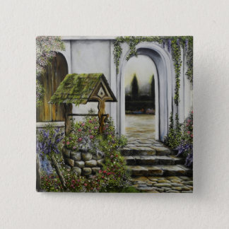 Wishing well garden ~Oil Painitng 2 Inch Square Button