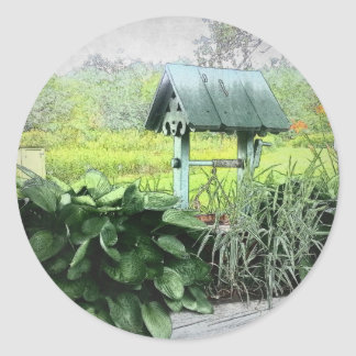 Wishing Well Greeting Cards Classic Round Sticker