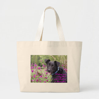 Wishing you a day filled with Whiskers and Butterf Large Tote Bag