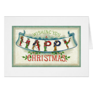 Wishing You A Happy Christmas Vintage Illustration Card