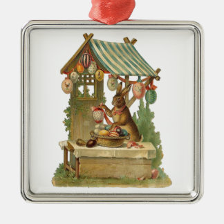 Wishing You a Happy Easter Silver-Colored Square Ornament